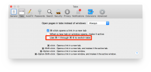 Head to Safari Preferences > Tabs to toggle the ⌘1 through ⌘9 behavior of selecting open tabs or loading bookmarks in the Favorites bar. (Click to enlarge.)